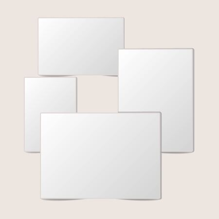 Blank white foto frame Collection with shadow. Set of empty white picture frames mockup template isolated