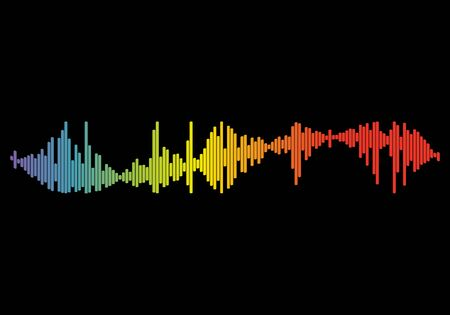 Audio colorful wave logo. Pulse music player on black. Trend equalizer element