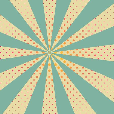 Background with retro rays and red dots. Cartoon pop art template.