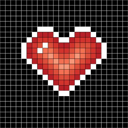 Pixel art heart. Love sign on black in white cell background 스톡 콘텐츠