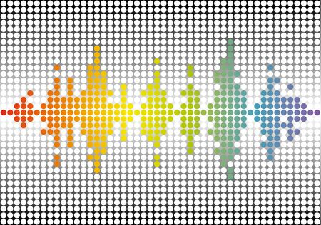 Rainbow music wave brand background. Circle digital motion. Abstract color dots banner.