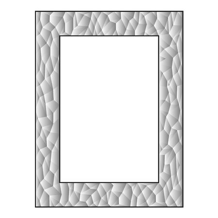 Gradient polygon frame. Monochrome geometric illustration on white background.