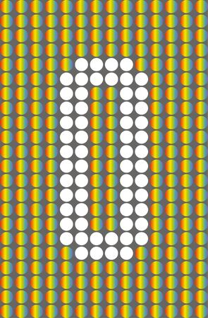 Number zero. Symbol 0. Numbering with white circles on rainbow circles background. Фото со стока