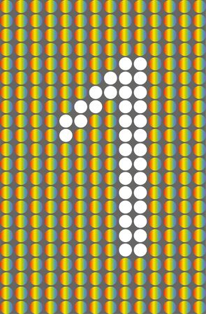 Number one. Symbol 1. Numbering with white circles on rainbow circles background. EPS 10
