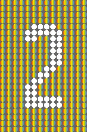 Number two. Symbol 2. Numbering with white circles on rainbow circles background.