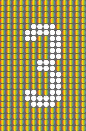 Number three. Symbol 3. Numbering with white circles on rainbow circles background. Фото со стока