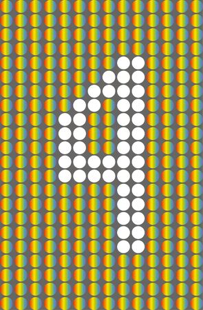 Number four. Symbol 4. Numbering with white circles on rainbow circles background.