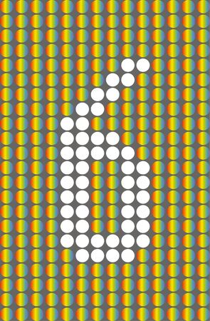 Number six.Symbol 6. Numbering with white circles on rainbow circles background.