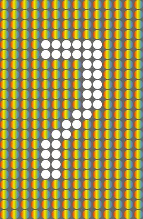 Number seven. Symbol 7. Numbering with white circles on rainbow circles background.