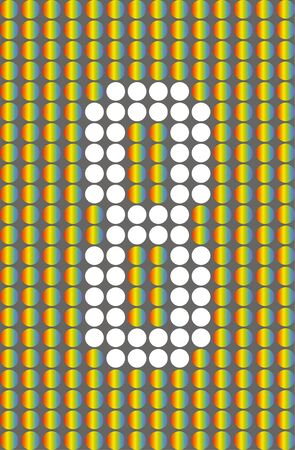Number eight. Symbol 8. Numbering with white circles on rainbow circles background.