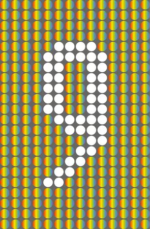 Number nine. Symbol 9. Numbering with white circles on rainbow circles background.