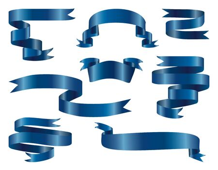 Classic blue glossy ribbon banners set. Celebrations isolated symbols collection on white background.