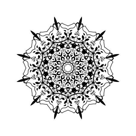 Ethnic black Mandala towel, yoga mat print. Henna tattoo style.