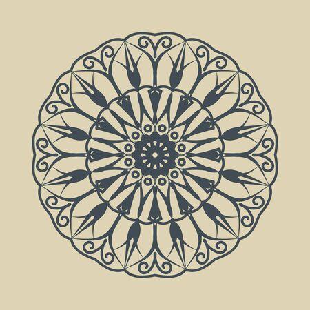 Floral round decorative symbol. Vintage decorative elements. Monochrome circular pattern on sandy background. Reklamní fotografie