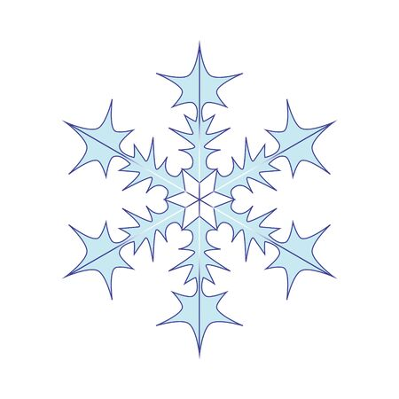 Blue-white snowflake on a white background. Winter snow flake crystal element. Snowflake icon illustration Banque d'images - 130124619