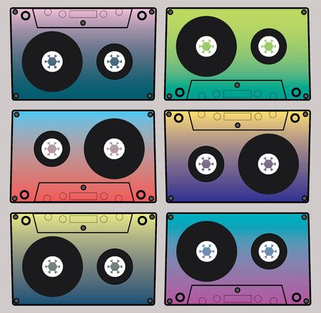 Image graphic color cassettes. Set of colorful gradient musical logo. Old audio player icon.