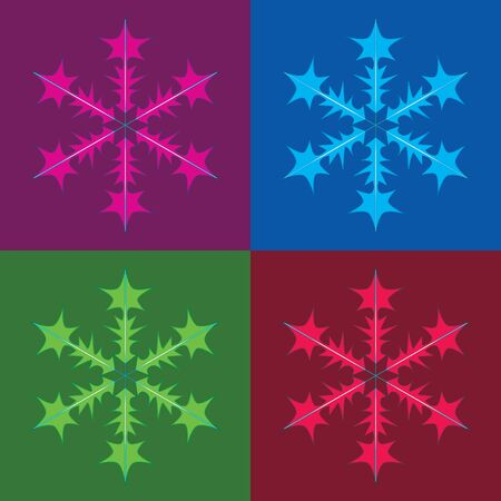 Snowflakes background,. Weather illustration ice collection. Frost flat isolated silhouette symbol different forms Banque d'images - 130124632