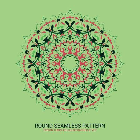 Floral round decorative symbol. Vintage decorative elements. Color circular pattern
