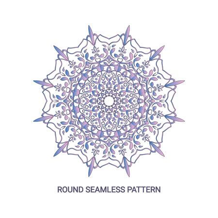 Round gradient mandala with floral patterns, yoga template Stockfoto