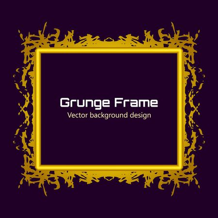 Gold Retro Grunge frame. Vintage Grunge background. Abstract paint template. Graphic pattern on black