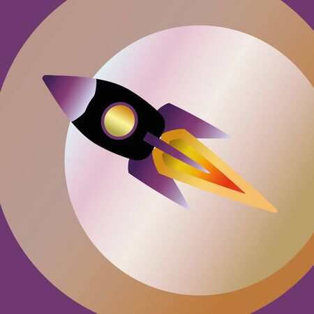 Rocket ship flying background. Color Space Illustration Stock fotó