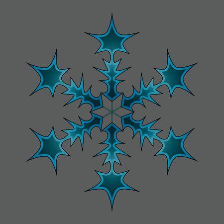 Winter blue snow flake crystal element. Snowflake icon illustration