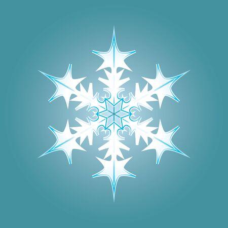 Blue-white snowflake. Winter snow flake crystal element. Snowflake icon illustration. Stok Fotoğraf