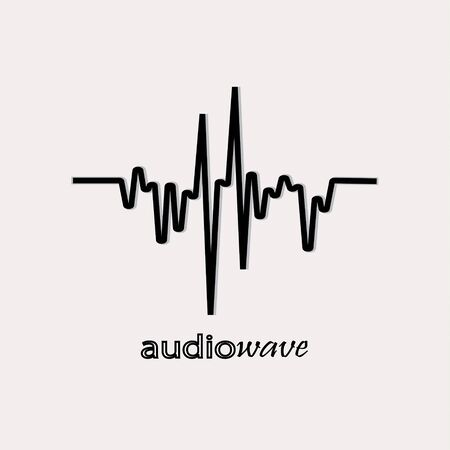 Audio wave with shadow. Music equalizer element on a white background.