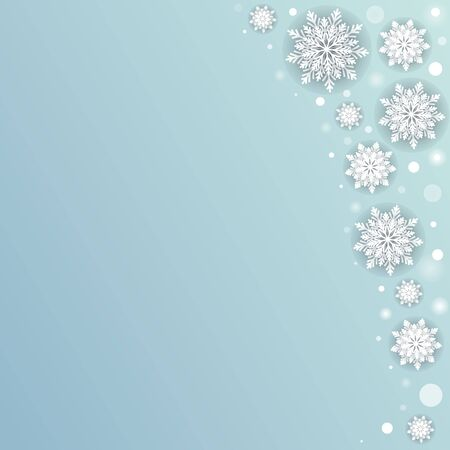 Snowfall winter background with white blurred dots and 3d snowflakes. Jpeg postcard Illustration.