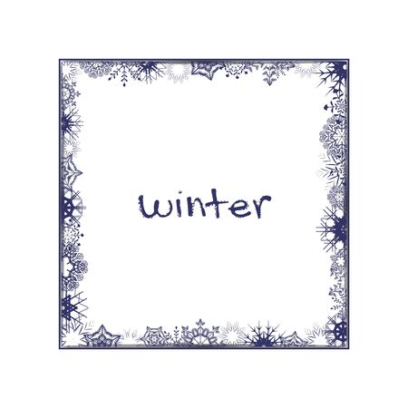 Winter white square photo frame with Snowflakes and shadow. Photograph empty blank holiday celebration template. Eps10 Ilustração
