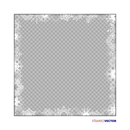 Empty winter white frame on a whole leaf with Snowflakes and shadow on transparent background. Photograph blank holiday celebration template. Eps10 Ilustração