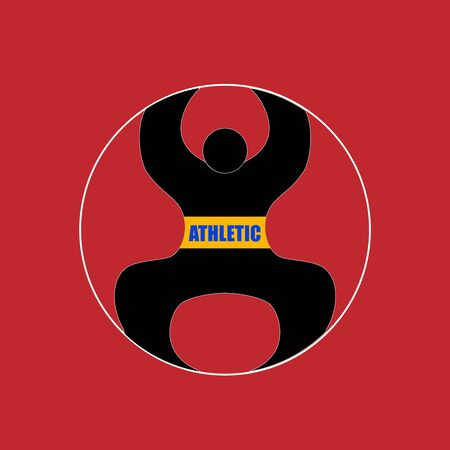 Athletics Vector  Illustration. Black silhouette sportsman body. Gym logotype template. Bodybuilder symbol, sports icon.