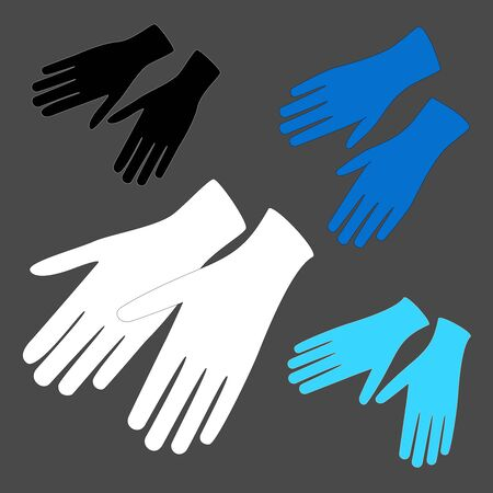 Hands protective white, blue and black gloves on grey. Vector latex gloves as a symbol of protection against viruses and bacteria. Rubber cleaning or hygiene supplies, medical surgery gloves. Ilustração