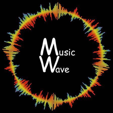 Spektrum Musikwellenhintergrund. Moderne Pulsmusik-Player-Technologie. Bunte runde Audiowelle auf schwarzem Hintergrund. Digitale Wellenform-Vektorillustration.