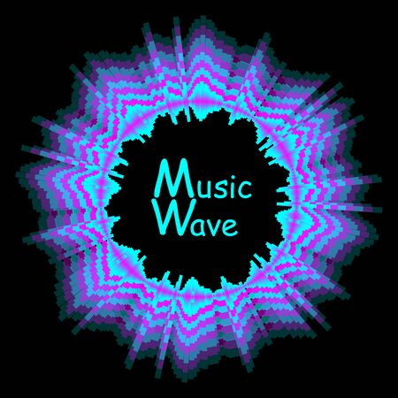 Round sound wave colorful music poster. Digital technology illustration. Vector abstract background with dynamic fading away waves, line and particles.