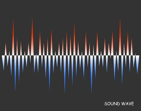 Abstract vector colorful pulse wave lines equalizer. old and warm soundwave. Digital audio concept of music technology background.
