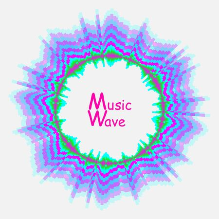Vector abstract background with dynamic round music waves. Sound wave colorful circle audio poster. Digital technology illustration.