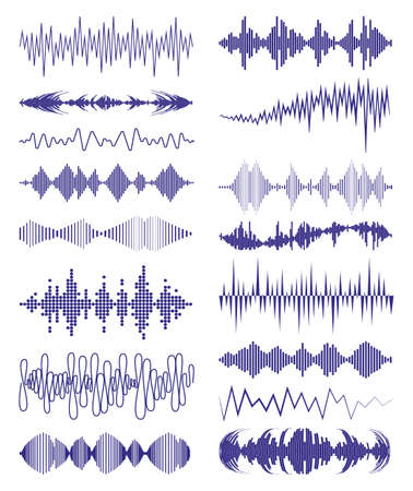 Big collection with music waves and audio symbols. Modern sound equalizer elements set. Vector digital waveform technology template illustration.