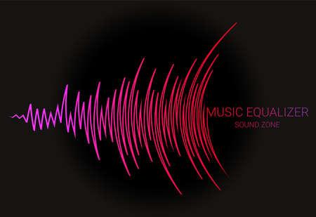Music wave . Color pulse audio player dynamic banner. Vector digital media waveform technology illustration. Vector Illustratie