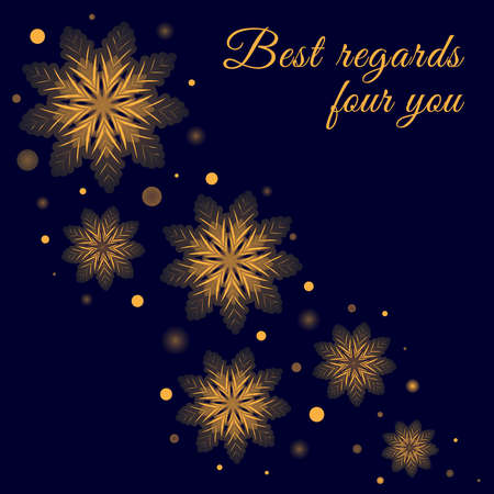 Greeting card design with glowing golden snowflakes on dark blue background. Vector winter holidays banner, celebrations poster template.