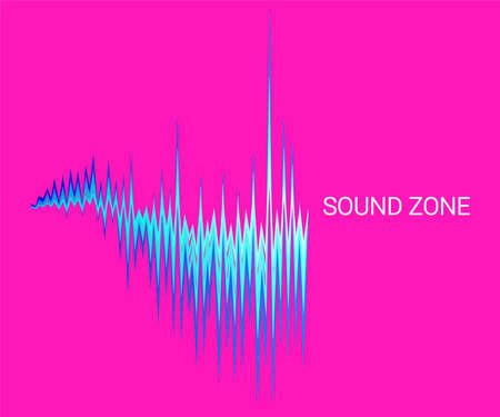 Vector sound wave oscillating background. Abstract electronic technology music poster. Modern audio equalizer, digital stereo vibrations, pulse recorde.