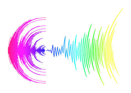 Poster with neon rainbow sound wave on white. Abstract colorful music dynamic waves background. Vector digital media waveform. Modern audio equalizer.