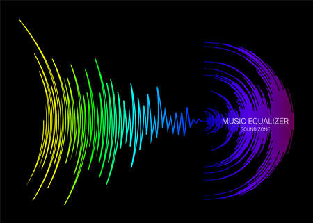 Black music background with colorful dynamic waves. Vector digital media waveform. Rainbow sound banner.