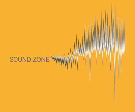 Yellow music background with 3D monochrome sound waves oscillating. Vector digital electronic poster. Modern audio equalizer, stereo vibrations, pulse recorde