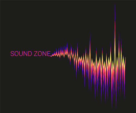 Vector black background with 3D colorful sound waves oscillating. Abstract electronic music poster. Modern audio equalizer, digital stereo vibrations, pulse recorder. Ilustração