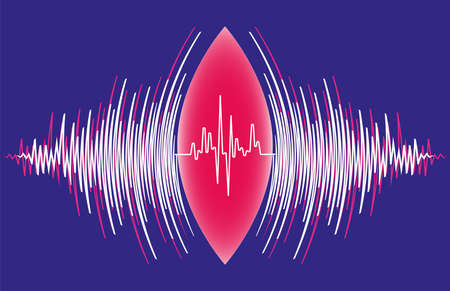 Abstract sound waves oscillating around heart pulse background. Vector radial music technology poster