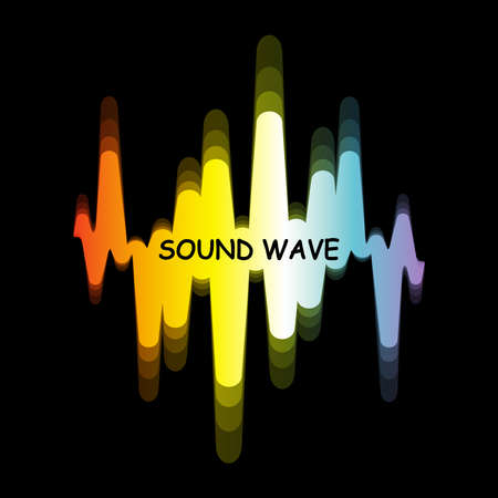 Spectrum sound wave  . Vector digital colorful waveform with blur effect on black background. Modern pulse music player technology. Audio design banner.
