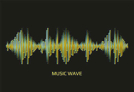 Modern neon music wave frequency logo. Digital audio technology. Stylized wave lines, design elements. Abstract vector colorful pulse equalizer background