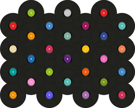 Pop art background with vinyl disks laid out on a white. Vintage poster of vinyl player record. Vector retro music template banner