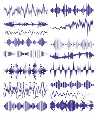 Collection with music waves   and audio symbols. Modern sound equalizer elements set. Digital waveform technology template jpeg illustration.